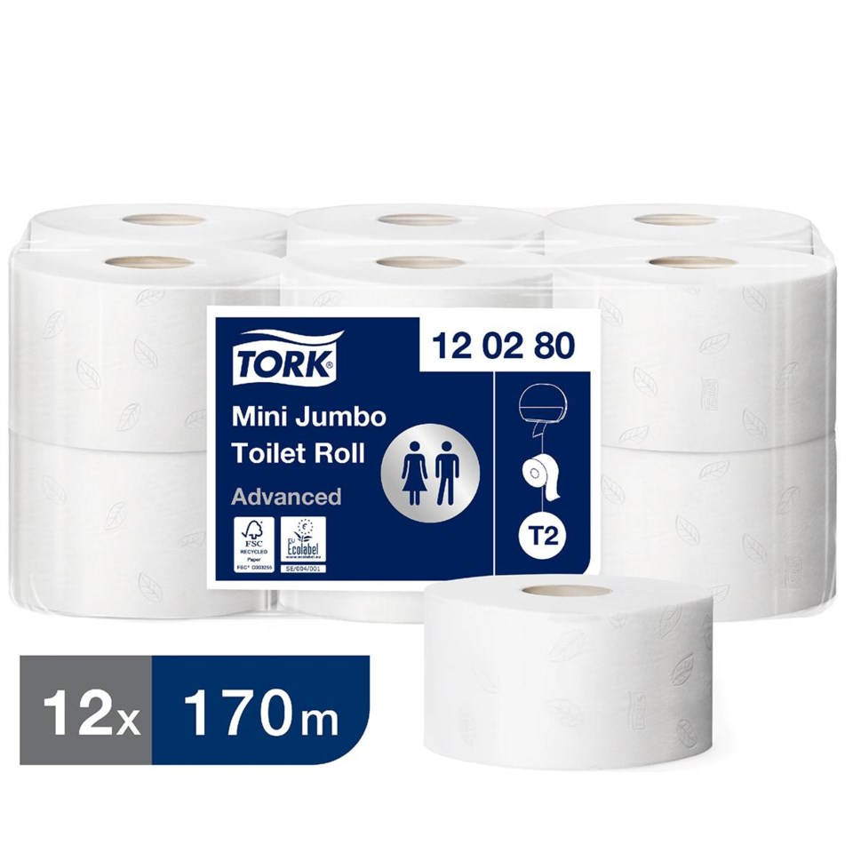 Toalettpapper Tork T2 advanced 2lg mini jumbo vit 170m 50030016_1