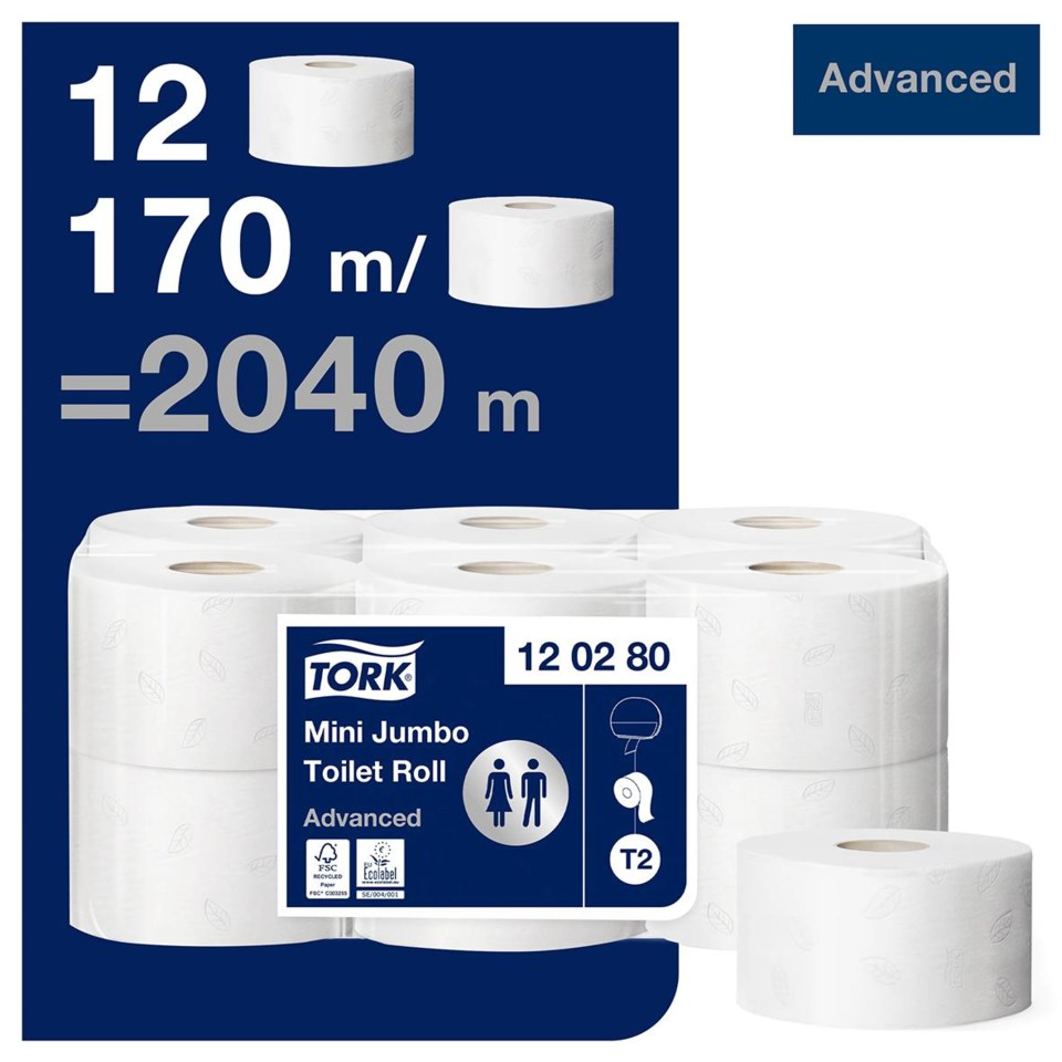 Toalettpapper Tork T2 advanced 2lg mini jumbo vit 170m 50030016_2