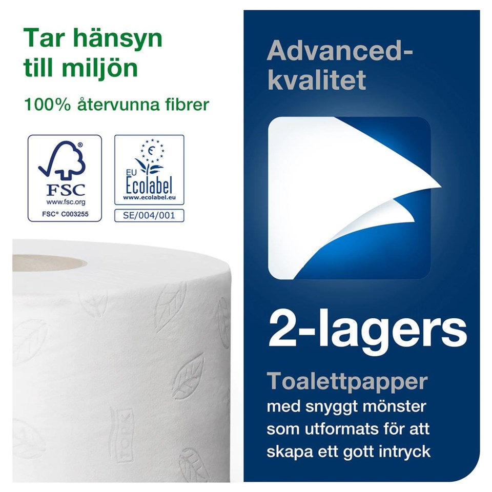 Toalettpapper Tork T2 advanced 2lg mini jumbo vit 170m 50030016_4